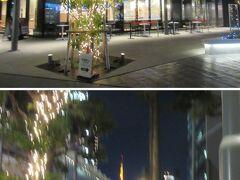 メズムから出て、夜の東京ポートシティ竹芝へ行きましょう。 夜のアトレはライトアップ。歩く途中に東京タワーが見えます。