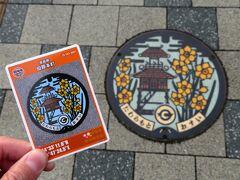 近鉄田原本駅へ戻り、マンホールカードとマンホールをパチリ。マンホールにも楼閣。