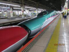 出発の大宮駅。日曜日の朝9:00過ぎ。後ろの東北新幹線部に乗ります。