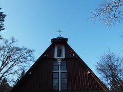 旧軽井沢銀座を横切って 聖パウロカトリック教会へ。