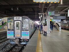 ★14:45 混雑に加え、遅延することも多い篠ノ井線ですが今日は定刻で長野到着。