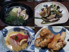 今夜の夕食は「喜多八」でいただきます! 人気のお店らしいけど入れました(^^♪  ここはおまかせ料理なので おひとり様にはいろいろ食べられてうれしい!  しょうがやトビンニャ、しめ鯖などからスタート。 冬瓜とアオサのお椀、お刺身、厚揚げ、 塩豚と野菜の煮物、豚としめじの炒め物、 豚足、油そば・・・どれも美味しい!  黒糖焼酎も初めてでしたが呑みやすく・・・ ロックでいただました。 おまかせ料理とお酒5杯で4000円とお得!