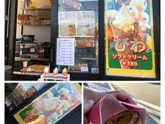 びわソフトクリーム380円とエッグタルト(南房総産の卵使用)250円 まぁまぁなお味。