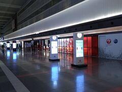 チェックインカウンターオープン前の第1ターミナルの出発ロビーです。本日も静まり返っています。