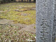 天王寺五重塔跡。 幸田露伴の小説「五重塔」のモデルにもなった東京の名所、谷中のシンボルだったのに、PHOが生まれる前の年に心中による放火で焼失してしまいました。駐在所に掲げてられている炎に包まれた衝撃的な写真は、前を通るたびに目が行ってしまいます