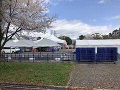 駿府城公園  静岡まつりの準備が行われています