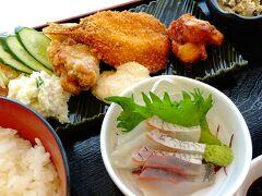 アジフライ、タコフライ、鳥から、タイとカンパチの刺身、ポテトサラダ