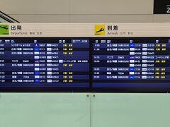 福岡空港国際線ターミナルに無事着きましたが、国内線ターミナルへのシャトルバスにはタッチの差で乗り遅れたので、短い時間で国際線ターミナルビル内を見学しました。運行状況を示すボードを見ると殆どが欠航になっていました。