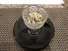 エクシブに戻り、夜は天ぷらのコース。 まずは、水菜とシイタケのチーズ白和え。