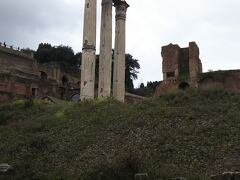 カストルとポルックスの神殿です。現存してるのは3本の柱のみとなっています。  レーギルス湖畔の戦いで勝利をおさめた双子の神へ捧げられた神殿といわれています。