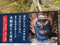 さて、特別拝観どないしますかねぇと。なにせ¥1600ですが…吉野山にゃ、そうそう来る事も無いし、秘仏の特別拝観、年がら年中やってる訳もなく。何より、この青いのが…  お邪魔させていただきました。  権現さんは、千手観音菩薩、釈迦如来、弥勒菩薩の三体。いずれも青くて巨大で怒髪天。仏様には見えませんが、こちらは仮のお姿。御本尊はさらに奥にいらっしゃいました。  御本尊は、それほど歴史感じず、失礼ながらよくある仏様。んでも、権現様の迫力は拝観料納める価値ありましたなぁ。