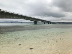 古宇利大橋を渡り古宇利島へ。 ここは古宇利ビーチ、凄まじく遠浅で綺麗。 ただここではシュノーケリングは無理そうなので、島の北側へ。