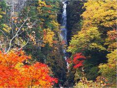 滝は、谷を超えた向こう側にありますが、なかなかの迫力です。