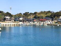 藍島の集落が見えてきました。 海では素潜りのダイバーさん、なまこを採っているそうです。