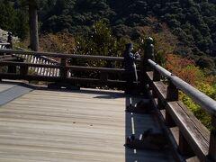 本堂を上に登ると ここには京都の清水寺のように そそり立った崖にせり出した 広い舞台がありました。 2020年12月初めの清水寺は結構混んでいました。 ここは静かで空いています。鶯(うぐいす)の鳴き声が聞こえ 長谷寺駅でも鳴いていました。