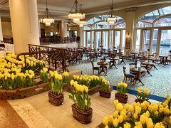 朝食会場にもなっているアンカーズラウンジ。 チューリップが咲き乱れ、とてもきれいです。