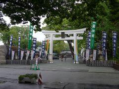 加藤神社大鳥居 大きな楠の木に覆われています