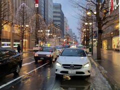 札幌パルコ。ライトアップも20時までです。日没が東京より30分くらい早いようでした。