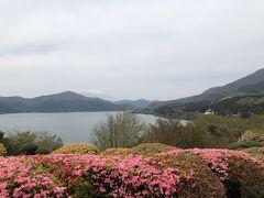 公園の一番高いところ、湖畔展望館の前から。 少し霞んでいますが、芦ノ湖の向こうに富士山。