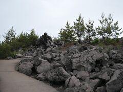雨よ、こぼれて来ないでね~ と願いながら陸続きの島「桜島」を回ります。  まずは 有村溶岩展望所へ。 1946年の大爆発で流出した溶岩原の小高い丘にある展望所です。 桜島に由来する歌碑などが点在する溶岩遊歩道を進みます。
