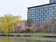 中島公園をぐるり。 青い建物は札幌パークホテル。  この青は、 有田焼の青磁タイルだそうです。