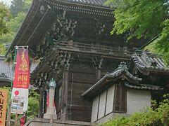 立派な仁王門です。さぁ、スタートです。 雨が、ぽつぽつ してきました。  入山料は、本堂の十一面観音菩薩拝観料と本坊の拝観料を含めて¥1700。