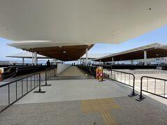 宮島口駅から歩いて、船付き場に到着