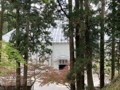 木々の合間に見えているのは、大改修中の根本中堂の外観です。