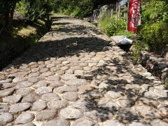 「静岡に来たのだからお茶が飲みたい」と連れの発案で、島田市へ向かいます。途中に茶畑の景色を眺めながら山道へ。すると旧の東海道が復元されているようなので、ちょっと寄り道。丸い石が敷き詰められていました。