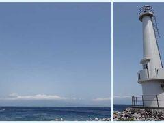 大瀬崎をコラージュで。 灯台とその先には富士山が見えます。