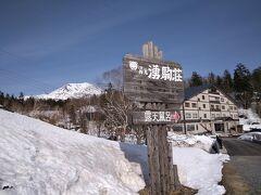 旭岳ロープウェイ乗り場から少し下ると、旭岳温泉の大小のホテルが原生林の中に点在しています。 我らのお宿が見えてきました。