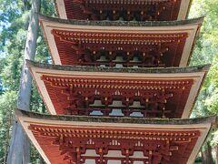 五重塔。屋外で建つ五重塔では、国内最小ですって。  屋根は、檜皮葺(ひわだぶき)。