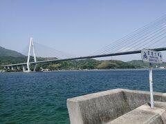 因島大橋を渡り、因島に入ります。 こちらも平坦な道が続きます。 つづいて生口島へ向かう生口橋を渡ります。