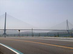 向かい風が強いですが、まだ平坦です。 多々羅大橋を渡ります。