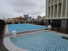 ホテルのプールを見学に行ってみます。 プールに出たとたん雨風が吹き付けてきますが、全て見ておかないと気が済まないタイプです。 あっ!?あれは!