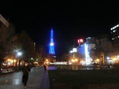 つぎに大通り公園とテレビ塔。  夜の公園は週末ということもあり、若者でいっぱいだった。