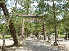 三の鳥居、松の参道の鳥居(中の鳥居)。 参道の中央は、景観保護のため参道の両サイドの道を通る様になっています。