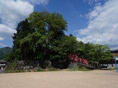 本光寺の脇を流れる荒城川沿いに少し歩くと、古川小学校が見えて来る。 その敷地内に、飛騨で唯一の平城である増島城の跡がある。 残っているのは本丸櫓台の石垣と濠の一部だけである。 櫓台の上には、旧増島天満神社社殿と御蔵稲荷神社があった。