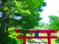 ほどなく、よもぎひら温泉に到着! 温泉町の頂にある高龍神社の大鳥居がお出迎 えをしてくれます。まさに「越後の護り湯」。