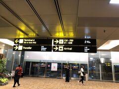 20:22にチャンギ空港に着陸、ターミナル2に到着しました。JAL便はターミナル1出発なので、モノレール Sky Trainで移動です。帰国便は22:25発なので、乗り継ぎ時間は余裕を持って2時間あります。