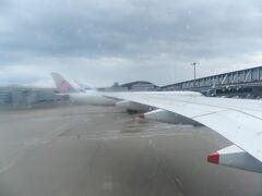 駐機場に着いたのは13:40頃。 定刻から約50分のディレイです。ちょうど桃園空港での離陸順番待ちの時間分だけ遅れたことになります。