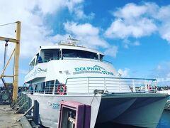 乗るのはこちらのドルフィンスター号。ツアーは日本でベルトラから事前予約。BBQ昼食付やシュノーケル付プランなどもあったが、さらっと船から見学のみのプランを選択。出航前に記念写真を撮ってくれて、購入できる。