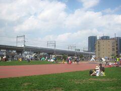 しながわ中央公園の奥には新幹線が通っています