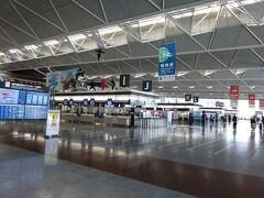 <ターミナル1>  右側はIからのチェックインカウンター。 こちらもIの上に忍者がいます!  この写真。実は3日後に大活躍。 写真を撮るって思わぬ時に役に立つ(^^)