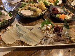 イカの刺身も東京ではみかけない透明でコリコリ食感