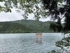 九頭龍神社の、湖に浮かぶ鳥居。