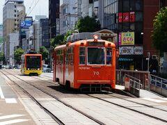 路面電車で移動します。まずは大街道停留所で下車します。