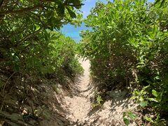 よくある海へ続く小道。 メインプールでのんびりする予定だったのですが、カフェが臨時休業だったのと、日差しが強すぎて水温が温泉みたいだったので長間浜へ行きました。 長間浜へはホテルから歩いて行けます。