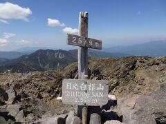 10:02 ロープウェイ山上駅登山口から1時間35分。 日光白根山(奥白根山)/E2,578mを登頂しました。 (E=標高.Elevation)