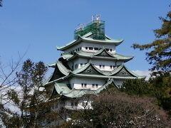 名古屋城観覧にはシャチ割が使えず、500円を支払い入場。 天守閣は、木造復元計画中。 もうすぐ降ろされる予定のシャチホコは、ネットが張られて見えず。